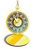 Reloj de bolsillo del oro del vintage en vector Fotos de archivo libres de regalías