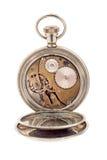 Reloj de bolsillo del vintage con la tapa posterior abierta Foto de archivo