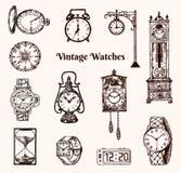 Reloj de bolsillo del vintage, despertador, reloj de arena clásico y dial mostrando tiempo Elementos antiguos de la colección man ilustración del vector