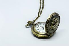 Reloj de bolsillo del vintage en blanco Imagen de archivo libre de regalías
