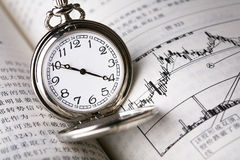 Reloj de bolsillo en el periódico sobre finanzas Imagen de archivo