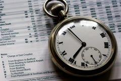 Reloj de bolsillo en horario Imágenes de archivo libres de regalías