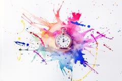 Reloj de bolsillo en la pintura Imágenes de archivo libres de regalías