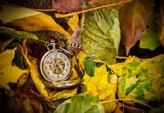 Reloj de bolsillo en un fondo de la piel y de las hojas de otoño foto de archivo libre de regalías