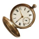 Reloj de bolsillo viejo aislado en blanco Fotos de archivo libres de regalías