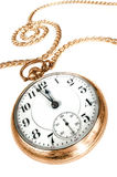Reloj de bolsillo viejo en el fondo blanco Fotos de archivo