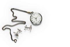 Reloj de bolsillo y mancuernas Fotos de archivo libres de regalías