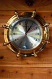 Reloj de cobre amarillo de la nave Fotografía de archivo libre de regalías