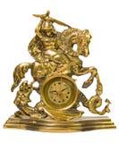 Reloj de cobre amarillo decorativo Fotos de archivo
