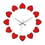 Reloj de corazones Fotografía de archivo libre de regalías