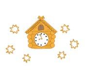 Reloj de cuco de madera del ejemplo del vector Foto de archivo libre de regalías