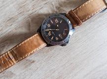 Reloj de cuero Foto de archivo libre de regalías