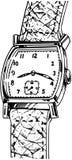 Reloj de la correa de cuero Fotografía de archivo libre de regalías