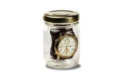 Reloj de la estafa de Frasco Foto de archivo libre de regalías