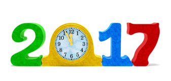 reloj de la fecha 2017 y de tabla con las chispas coloreadas Imagen de archivo libre de regalías
