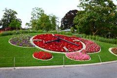 Reloj de la flor en Ginebra Fotos de archivo