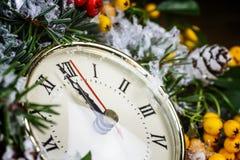 Reloj de la Navidad Foto de archivo