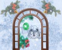 Reloj de la Navidad cinco minutos dejados Fotos de archivo libres de regalías