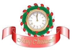 Reloj de la Navidad del oro Imagenes de archivo