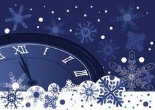 Reloj de la Navidad sobre fondo azul abstracto libre illustration