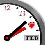 Reloj de la tarjeta del día de San Valentín Imágenes de archivo libres de regalías