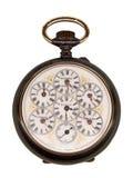 Reloj de la vendimia que representa diversas zonas horarias Imagenes de archivo