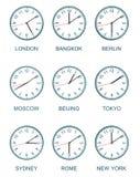 Reloj de la zona horaria Fotos de archivo