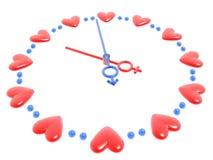Reloj de las tarjetas del día de San Valentín Fotografía de archivo libre de regalías
