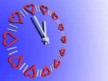 Reloj de las tarjetas del día de San Valentín Fotos de archivo libres de regalías