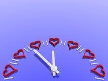 Reloj de las tarjetas del día de San Valentín Foto de archivo