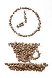 Reloj de los granos de café en 8 foto de archivo libre de regalías