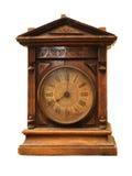 Reloj de madera antiguo Fotografía de archivo