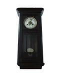 Reloj de madera del péndulo viejo del siglo XIX aislado en blanco Imagen de archivo libre de regalías