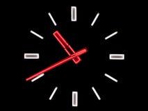 Reloj de neón Foto de archivo libre de regalías