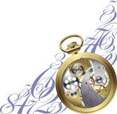 Reloj de oro adentro ilustración del vector