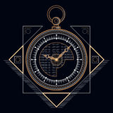 Reloj de oro del bolsillo Imagen de archivo