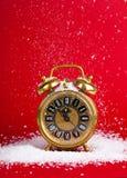 Reloj de oro del goldenantique de la decoración de la Navidad del vintage Imágenes de archivo libres de regalías