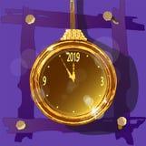 Reloj de oro en un fondo decorativo inusual libre illustration