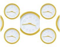 Reloj de pared amarillo Fotografía de archivo libre de regalías