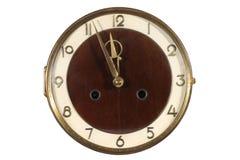 Reloj de pared antiguo viejo aislado en blanco Imágenes de archivo libres de regalías