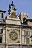 Reloj de pared cuadrado de la logia, Brescia Foto de archivo libre de regalías