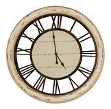 Reloj de pared de la vendimia con los números romanos Aislado en el fondo blanco imagen de archivo