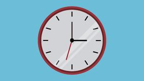 Reloj de pared en la animación de la cuenta descendiente HD ilustración del vector