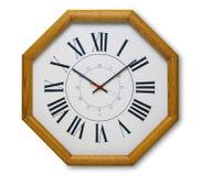 Reloj de pared en madera Fotografía de archivo