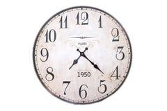 Reloj de pared retro aislado en el fondo blanco El mormimg Imágenes de archivo libres de regalías