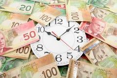 Reloj de pared y dólares canadienses Fotografía de archivo libre de regalías