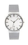 Reloj de plata aislado en blanco imágenes de archivo libres de regalías