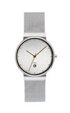Reloj de plata en blanco fotos de archivo