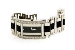 Reloj de plata femenino con los diamantes Fotografía de archivo libre de regalías