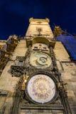 Reloj de Praga por noche Imágenes de archivo libres de regalías